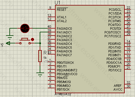 the schematic of this practical AVR project, represents that the microcontroller is connected to a push button at port A1 and an LED at port A0.