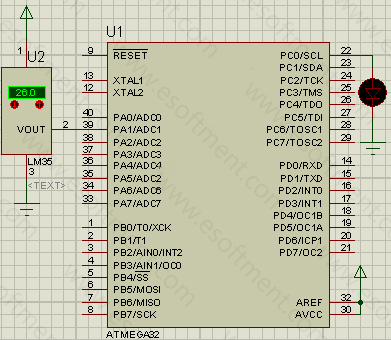 the schematic of this AVR project, represents that the AVR is connected to an LDR sensor at port A1 and an LED at port B0. Note: one side of the LDR is connected to ground and the other side to the port A1 and pulled up with a 1 mega ohm resistor