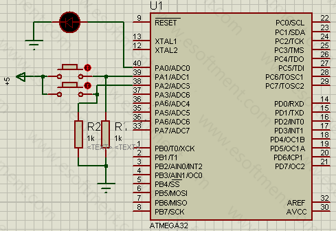 the schematic of this practical AVR project, represents that the ATMEGA32 is connected to two push buttons at port A1 and A2 and an LED at port A0.