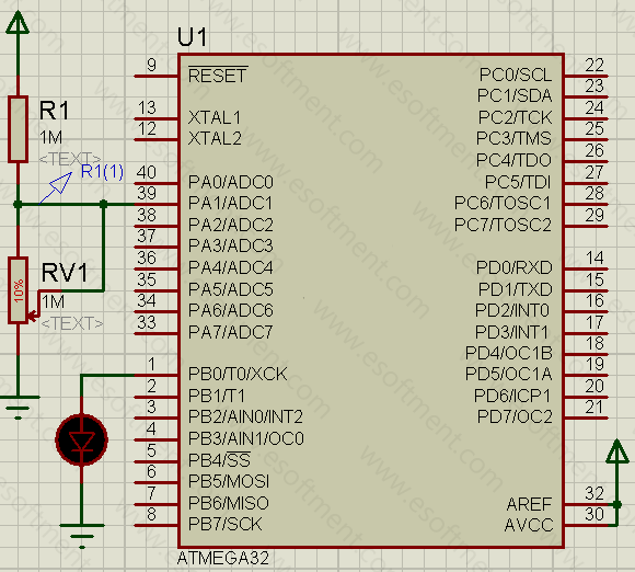 the schematic of this practical AVR project, represents that the microcontroller is connected to an LDR sensor at port A1 and an LED at port B0. Note: one side of the LDR is connected to ground and the other side to the port A1 and pulled up with a 1 mega ohm resistor