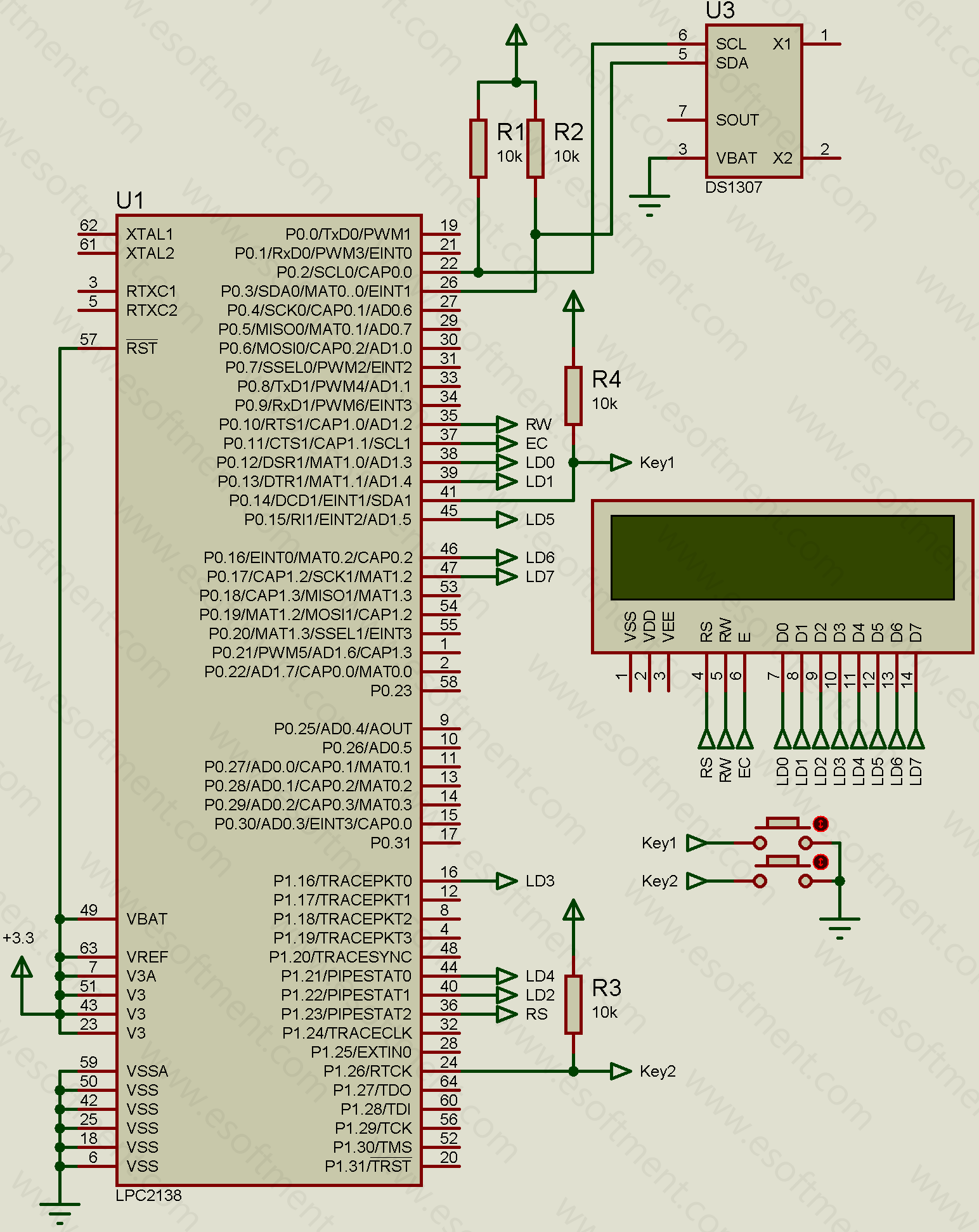 arm lpc connected to ds1307 ic schematic