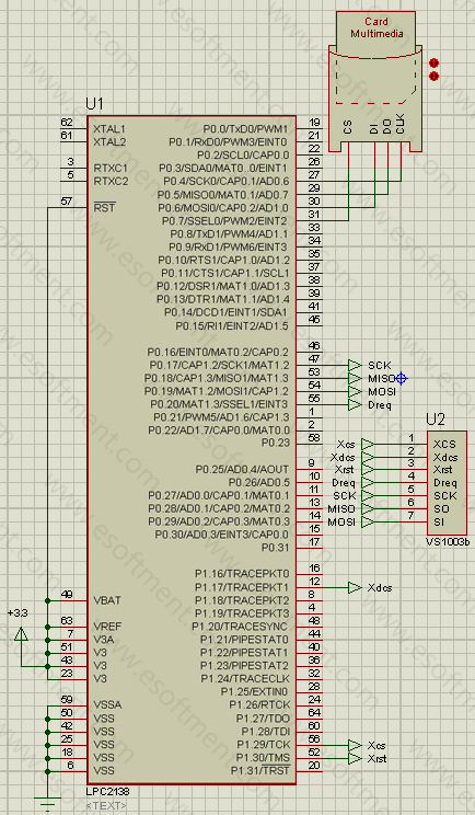 schematic of arm and VS1003 example code