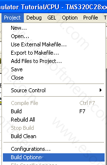 Clicking on Build options