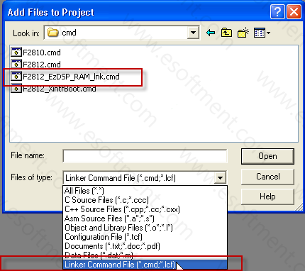 adding linker command files to the project