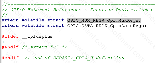 DSP GPIO external references and function declarations
